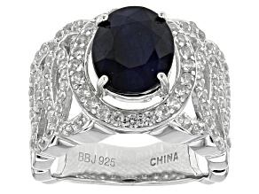 Blue Sapphire Sterling Silver Ring 4.75ctw