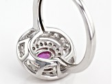 Pink Sapphire Sterling Silver Ring .74ctw