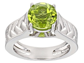 Green Peridot Sterling Silver Solitaire Ring 1.70ctw