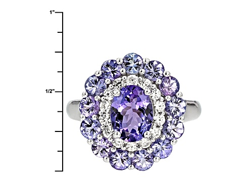 Blue Tanzanite Sterling Silver Ring 2.76ctw
