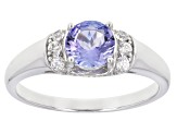 Blue Tanzanite Sterling Silver Ring 1.46ctw