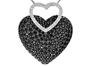Black Spinel Sterling Silver Heart Pendant With Chain 5.51ctw