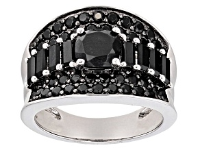 Black Spinel Sterling Silver Ring 2.94ctw