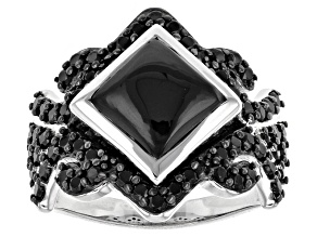 Black Spinel Sterling Silver Ring 4.01ctw