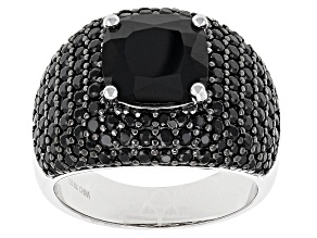 Black Spinel Sterling Silver Ring 5.72ctw