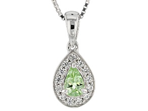 Green Mint Tsavorite Sterling Silver Pendant With Chain .51ctw