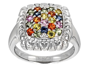 Multi-Sapphire Sterling Silver Ring .83ctw