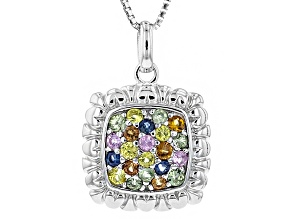 Multi-Sapphire Sterling Silver Pendant With Chain .60ctw
