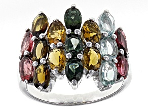 Multi-Tourmaline Sterling Silver Ring 3.91ctw