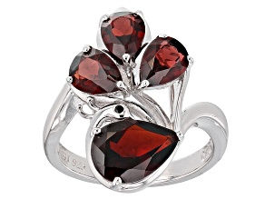 Red Garnet Sterling Silver Peacock Ring 4.71ctw