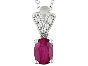 Red Ruby Sterling Silver Pendant With Chain .85ctw