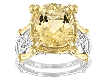 Picture of Yellow Labradorite Two-Tone Rhodium Over Sterling Silver Ring 5.32ctw