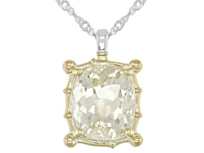 Yellow Labradorite Rhodium Over Sterling Silver Two-Tone Pendant With Chain 5.00ct