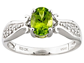 Green Peridot Sterling Silver Ring .99ctw
