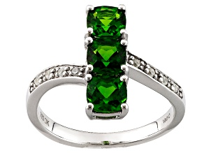 Green Chrome Diopside And White Zircon Sterling Silver Ring 1.48ctw