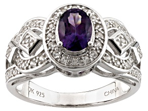 Purple Spinel Sterling Silver Ring .97ctw