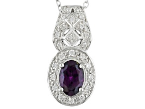 Purple Spinel Sterling Silver Pendant With Chain .82ctw