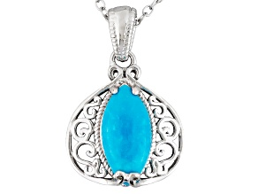 Blue Sleeping Beauty Turquoise Sterling Silver Solitaire Pendant With Chain