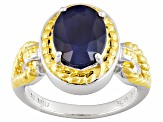 Blue Sapphire Solitaire Two-Tone Sterling Silver Ring 2.39ctw