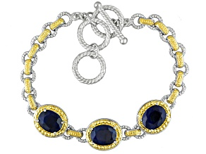 Blue Sapphire Two-Tone Sterling Silver 3-Stone Bracelet 7.19ctw