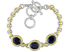 Blue Sapphire Two-Tone Sterling Silver 3-Stone Bracelet 7.19ctw