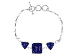 Blue Lapi Lazuli Sterling Silver 3-Stone Bracelet