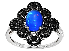 Blue Ethiopian Opal Sterling Silver Ring 1.55ctw
