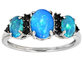 Blue Ethiopian Opal Sterling Silver Ring 1.56ctw