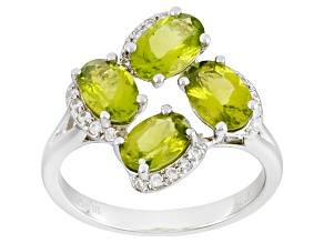 Green Peridot Sterling Silver Ring 1.97ctw
