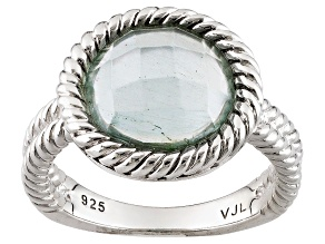 Blue Aquamarine Sterling Silver Ring 2.85ct