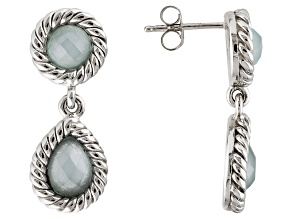Blue Aquamarine Sterling Silver Earrings 3.74ctw