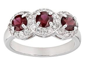 Red Garnet Sterling Silver Ring 1.32ctw