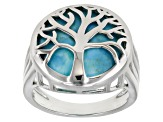 Blue Turquoise Rhodium Over Sterling Silver Tree Of Life Ring