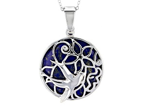 Blue Lapis Lazuli Sterling Silver Bird Enhancer With Chain