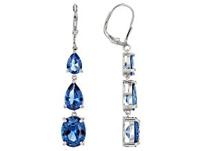 Blue Lab Created Spinel Sterling Silver Earrings 9.85ctw