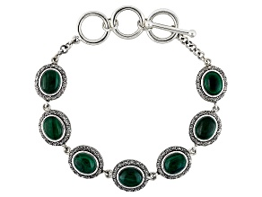 Green Malachite Sterling Silver Adjustable Bracelet
