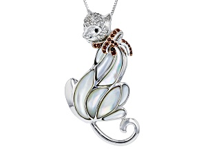White Mother Of Pearl Sterling Silver Cat Pendant With Chain .40ctw