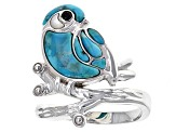 Blue Turquoise Sterling Silver Bird Ring .01ct