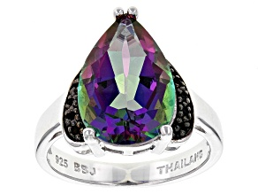 Green Multicolor Quartz Sterling Silver Ring 4.63ctw