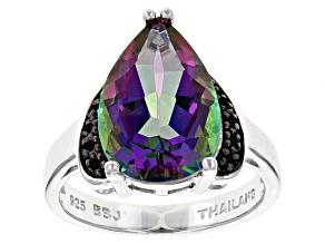 Green Multicolor Quartz Sterling Silver Ring 4.63ctw
