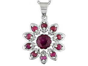 Mahaleo Ruby Sterling Silver Pendant With Chain 1.43ctw