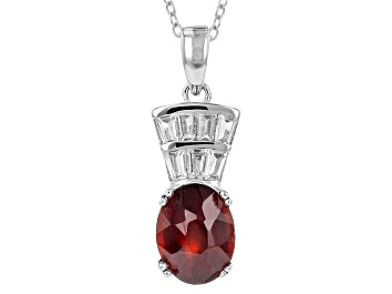Picture of Red Hessonite Garnet Sterling Silver Pendant With Chain 3.32ctw