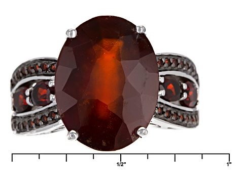 Red Hessonite Sterling Silver Ring 10.15ctw