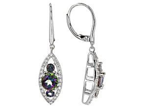 Multicolor Topaz Sterling Silver Dangle Earrings 2.90ctw