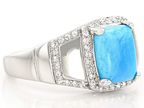 Blue Turquoise Sterling Silver Ring .38ctw