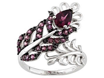 Picture of Purple Rhodolite Sterling Silver Bypass Feather Ring 1.32ctw