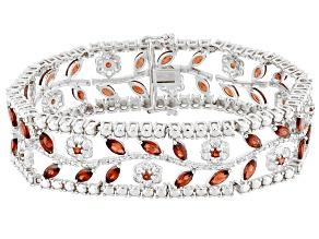 Red Garnet Sterling Silver Bracelet 17.12ctw