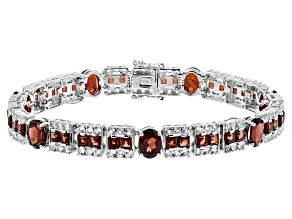 Red Garnet Sterling Silver Bracelet 20.40ctw