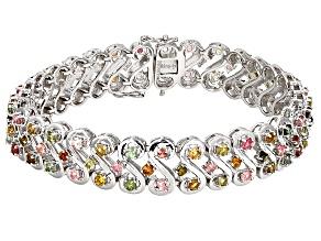 Multi-Tourmaline Sterling Silver Bracelet 6.75ctw