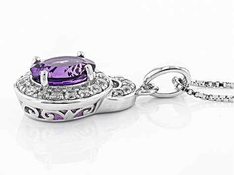 Purple Uruguayan Amethyst Sterling Silver Pendant With Chain 1.92ctw